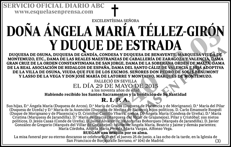 Ángela María Téllez-Girón y Duque de Estrada